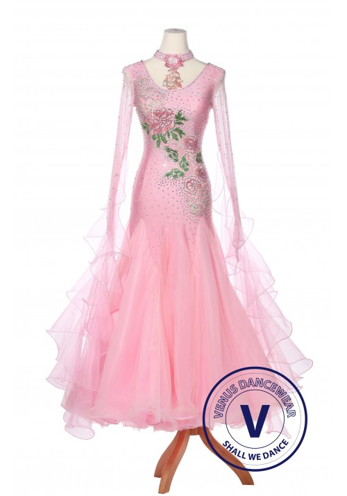 Pink Paeonia Women Ballroom Smooth Waltz Standard Competition Dress