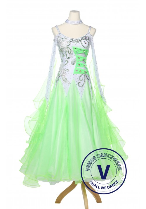 Apple Green Women Ballroom Dance Smooth Standard Waltz Competition Dress