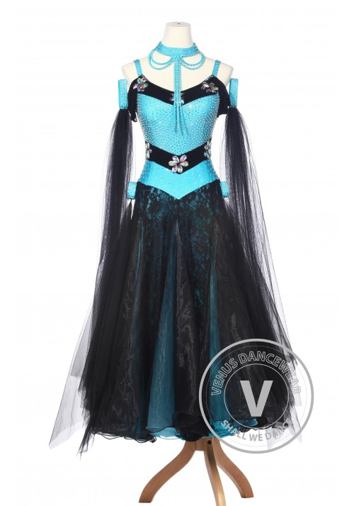 Blue Lace Ballroom Competition Women Dance Gown Waltz Smooth Foxtrot Standard