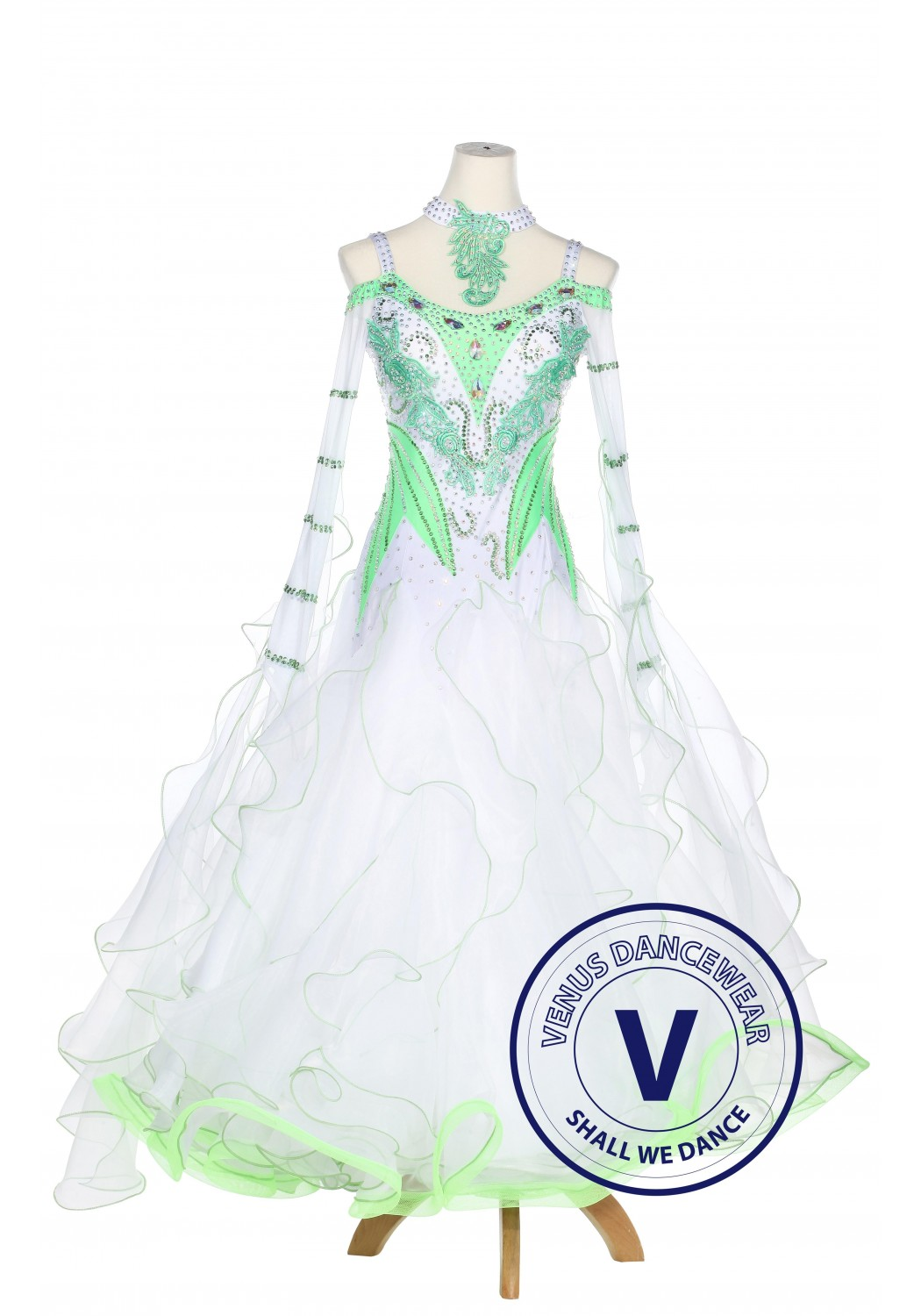 Green Leaves Ballroom Competition Women Dance Dress Waltz Smooth Foxtrot Standard