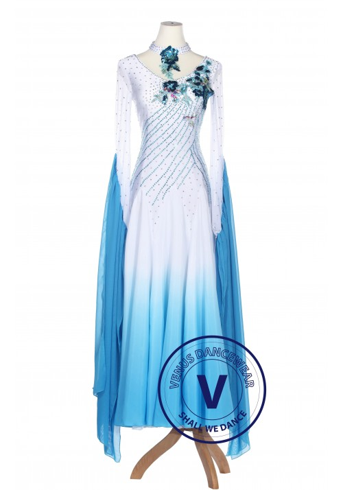 Blue Gradational Ballroom Competition Standard Waltz Smooth Foxtrot Women Dance Dress
