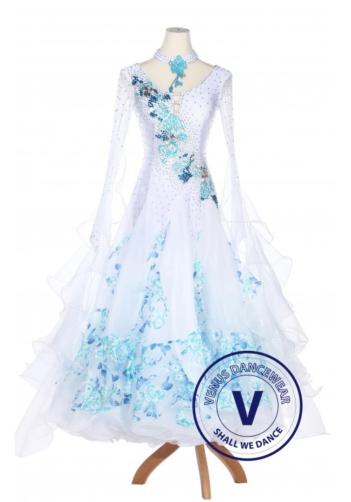 Blue Floral Ruffle Smooth Foxtrot Waltz Ballroom Standard Competition Women Dress