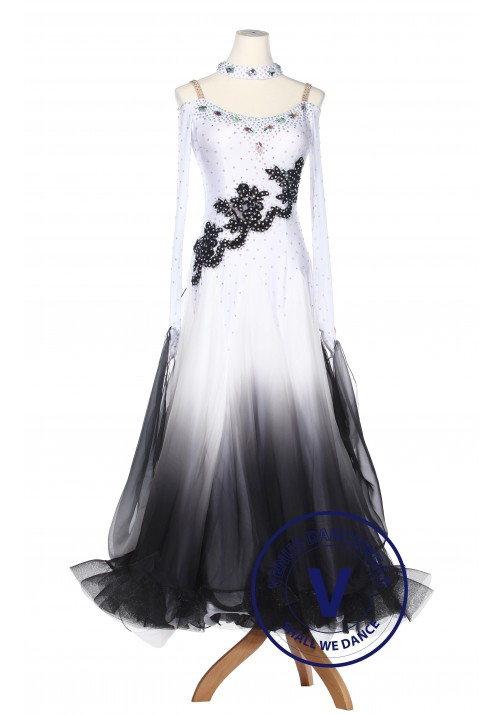 Black Gradational Ballroom Competition Standard Waltz Smooth Foxtrot Women Dance Dress
