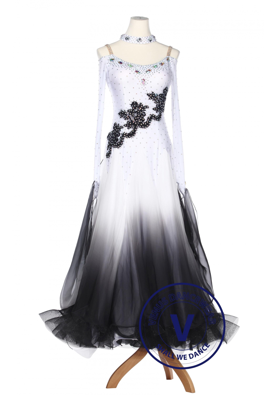 ef6432838 Black Gradational Ballroom Competition Standard Waltz Smooth Foxtrot Women  Dance Dress