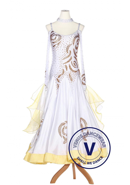 Golden Floral Ballroom Competition Women Dance Gown Waltz Smooth Foxtrot Standard