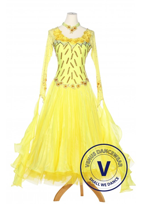 Yellow Ballroom Competition Women Dance Gown Waltz Smooth Foxtrot Standard