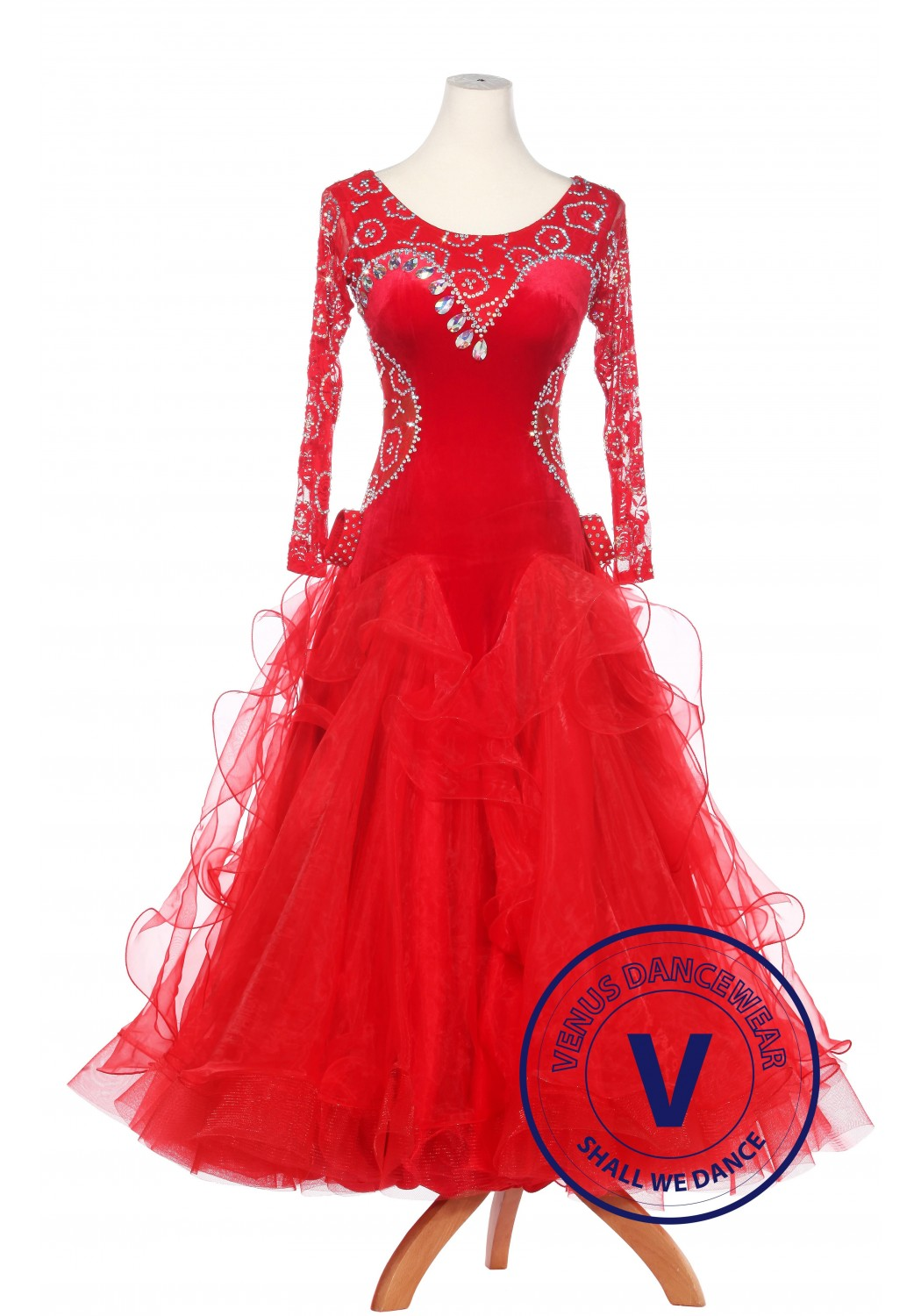 Red Velvet and Lace Standard Waltz Smooth Tango Ballroom Competition Dress