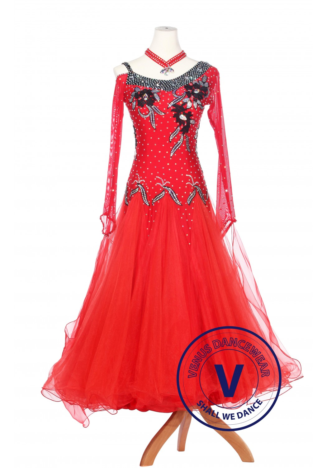 Red Fire Women Ballroom Competition Standard Waltz Smooth Dance Dress