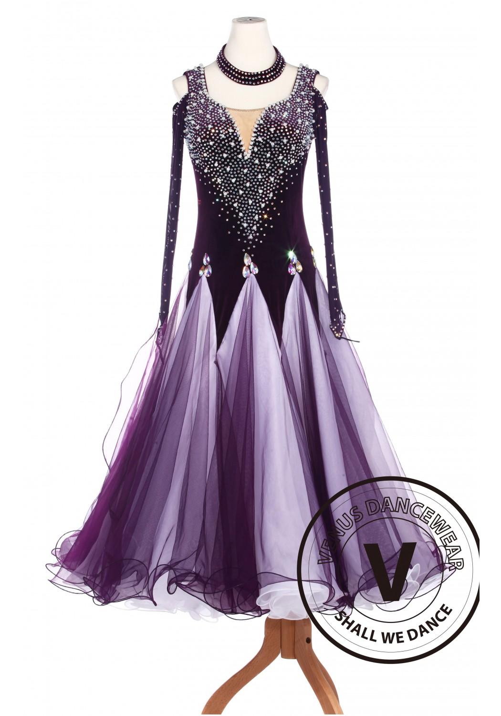 Royal Purple Ballroom Smooth Dance Competition Dress