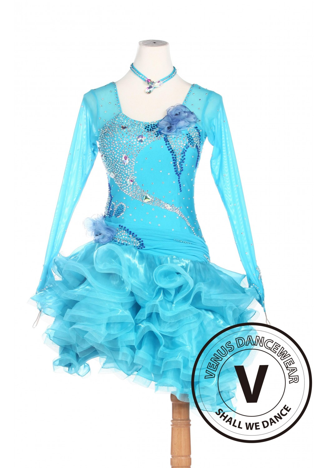 Blue Latin Competition American Rhythm Salsa Rumba Dance Dress