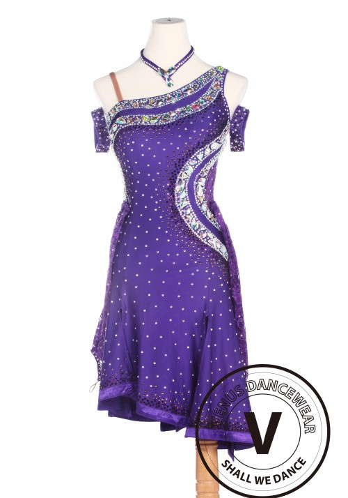 Purple Latin Competition American Rhythm Salsa Rumba Dance Dress