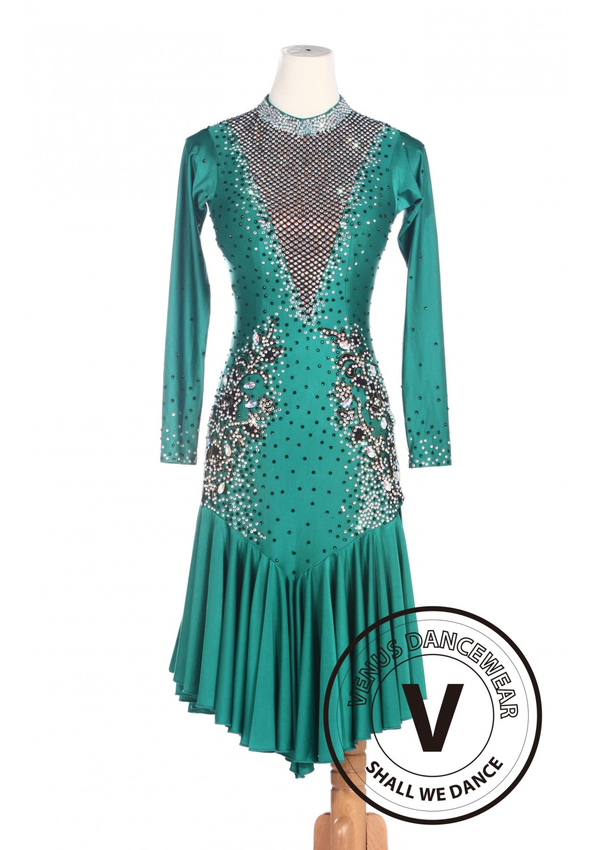 9e32560bc24 Green Women Ballroom Salsa Latin Rumba Swing Dance Dress