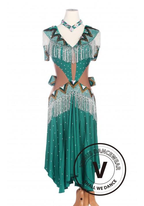 Green Latin Dancewear Salsa Rumba Swing Competition Dance Dress