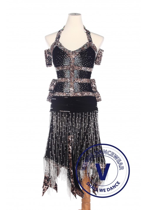 Black Elegant Latin Competition American Rhythm Salsa Rumba Dance Dress