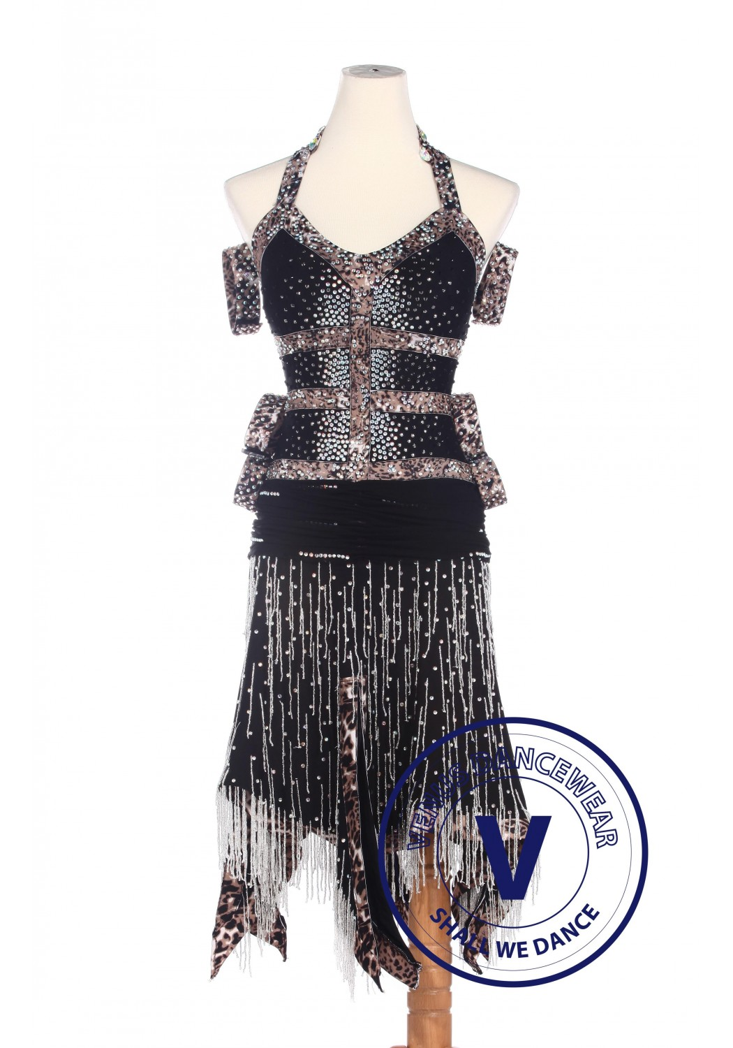 Black Elegant Latin Competition American Rhythm Salsa Rumba Dance Dress