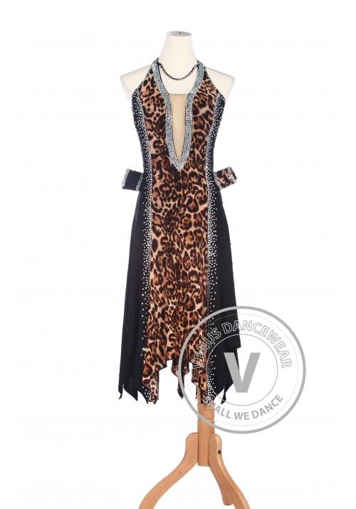 Leopard Elegant American Rhythm Salsa Rumba Latin Competition Dance Dress
