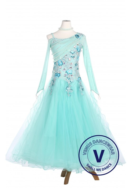 Skyblue Elegant Smooth Tango Waltz Competition Ballroom Dress
