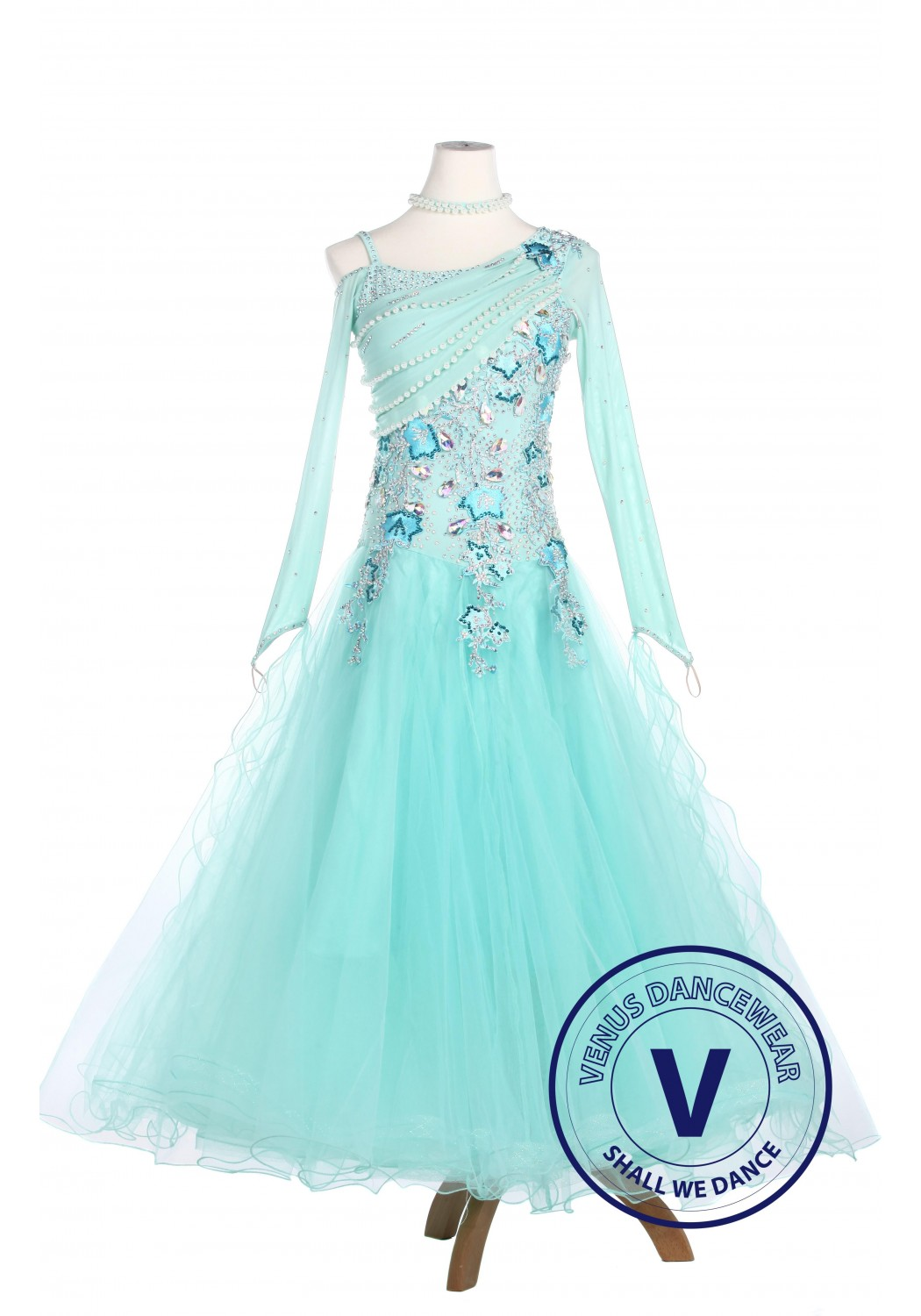 Turquoise Elegant Smooth Tango Waltz Competition Ballroom Dress