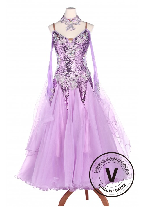 Violet Sequin Standard Smooth Tango Waltz Competition Ballroom Dress