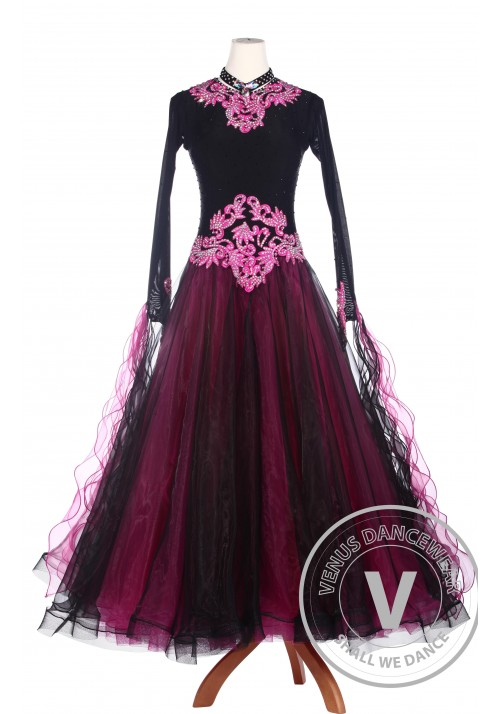 Black Rose Elegant Ballroom Waltz Tango Standard Competition Dress
