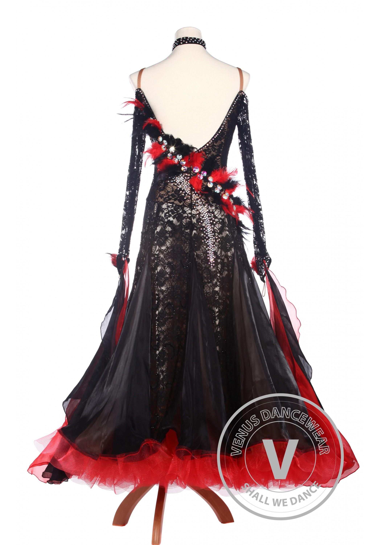 065802e25423 Black Lace Feather Ballroom Waltz Tango Standard Competition Dress