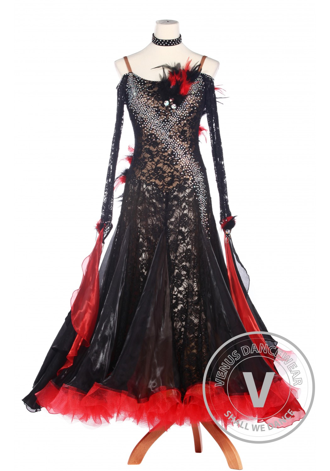 Black Lace Feather Ballroom Waltz Tango Standard Competition Dress