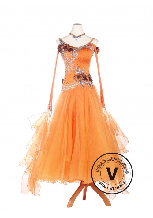 Orange Lycra Ballroom Waltz Tango Standard Competition Dress