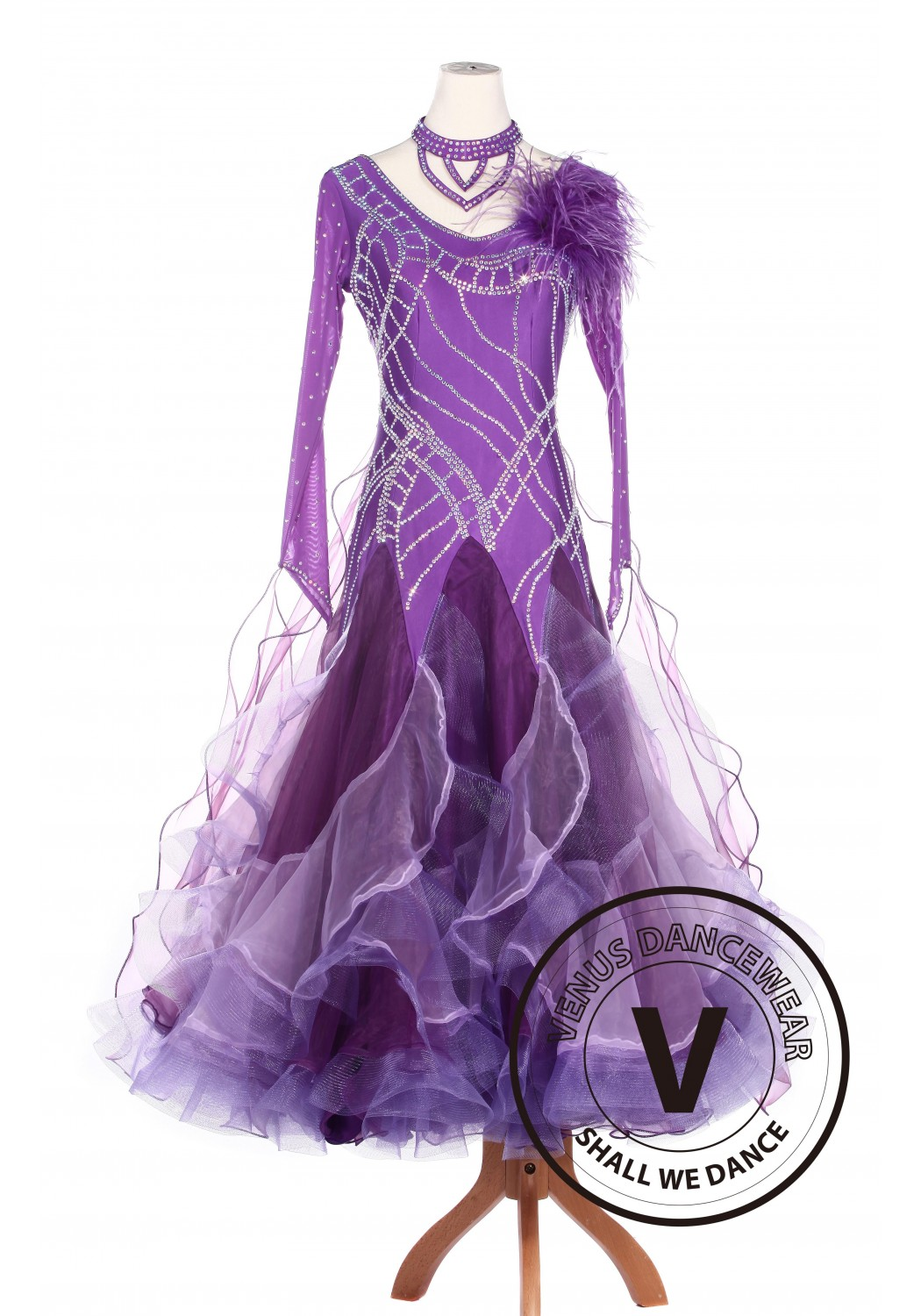 Purple Feather Ballroom Waltz Smooth Tango Standard Competition Dress