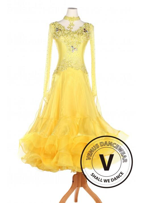 Yellow Ballroom Waltz Smooth Tango Standard Competition Dress