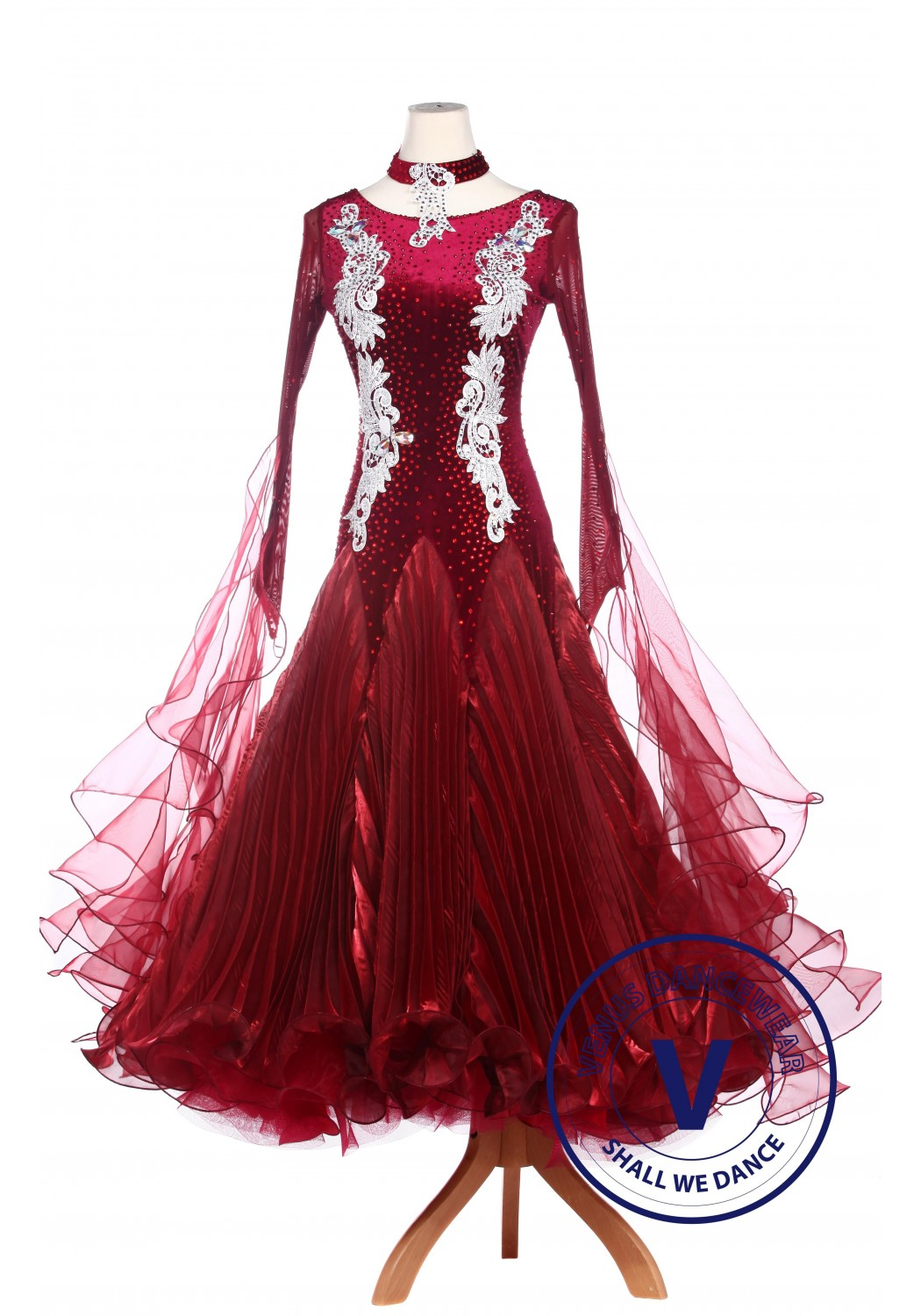 Burgundy Velvet Waltz Smooth Tango Standard Competition Dress