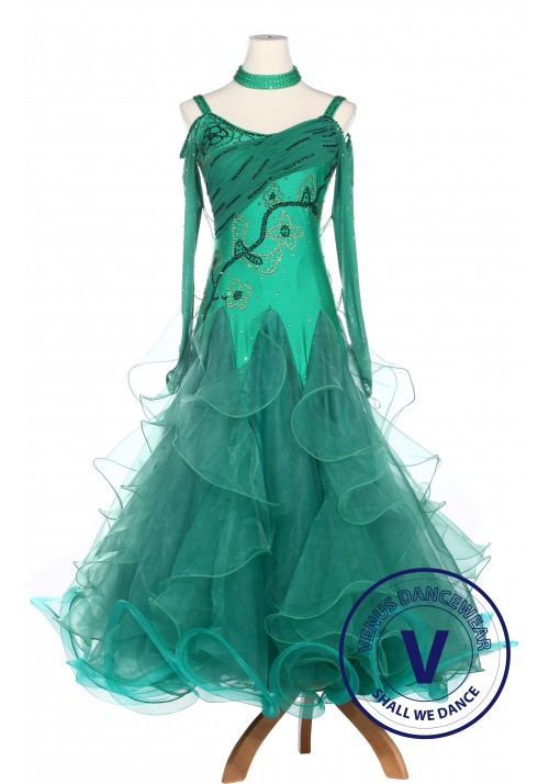Green Lycra Waltz Standard Tango Ballroom Competition Dress