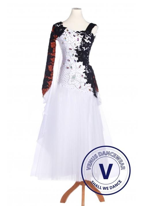 White Lycra Waltz Standard Tango Ballroom Competition Dress