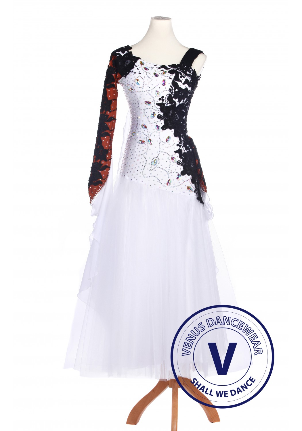 White Lycra Waltz Standard Tango Ballroom Competition Dress