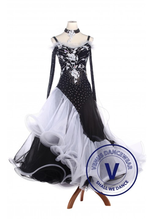 Black Lycra Waltz Standard Tango Ballroom Competition Dress