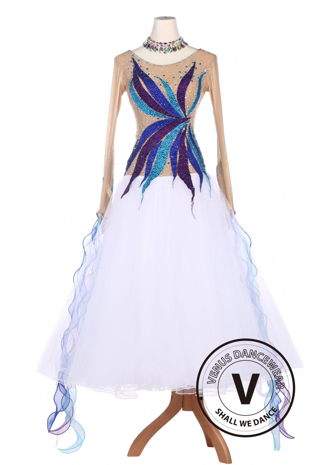 White Beautiful Standard Smooth Tango Waltz Competition Ballroom Dress