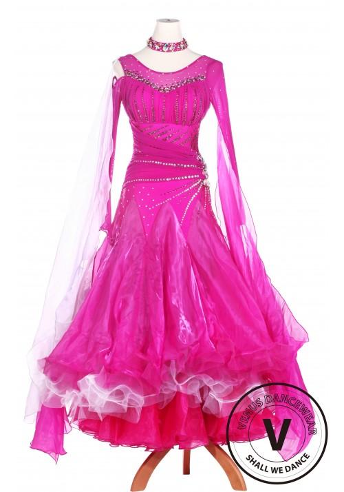 Pink Beautiful Standard Smooth Tango Waltz Competition Ballroom Dress