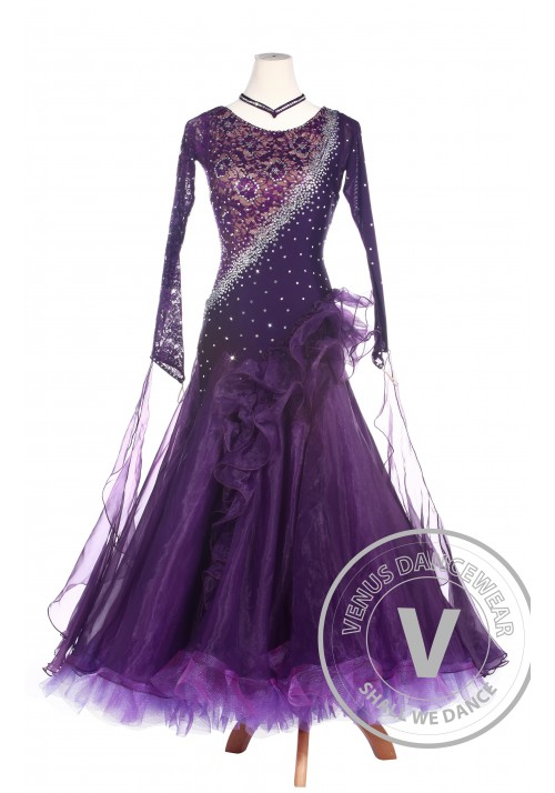 Purple Lace Ballroom Waltz Tango Standard Competition Dress