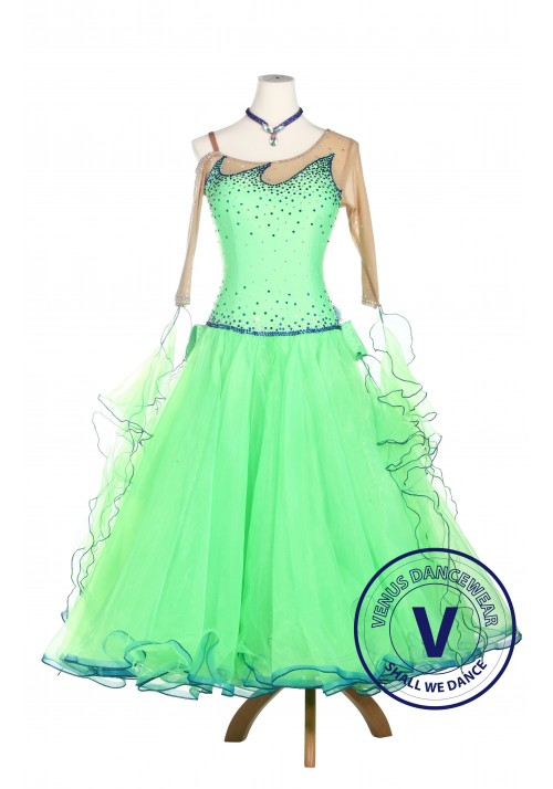 Green Lycra Ballroom Waltz Tango Standard Competition Dress