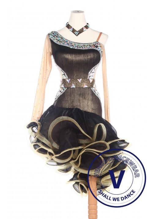 Golden Latin Rhythm Salsa ballroom Competition Dance Dress