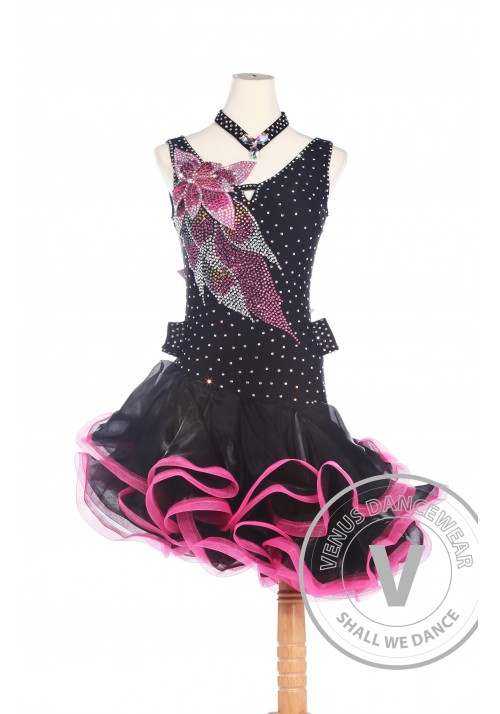 Red and Black American Rhythm Salsa Rumba Competition Dance Dress