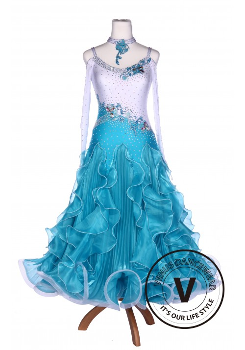White and Blue Pleated Korean Silk Standard Smooth Tango Waltz Ballroom Dress Competition