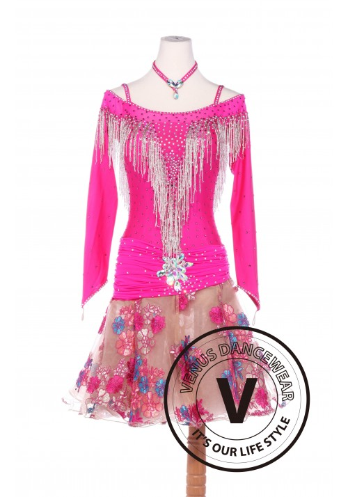 Pink Peach Blossom Latin Rhythm Chacha Salsa Competition Dancing Dress