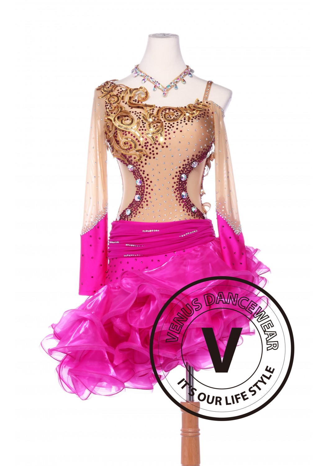 Gold and Rose Sequin Latin Rhythm Chacha Salsa Competition Dancing Dress