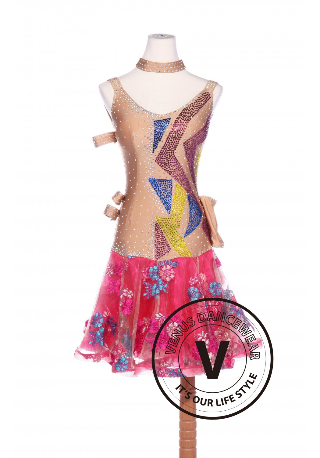 Embroidered Coral Color Latin Rhythm Chacha Salsa Competition Dancing Dress